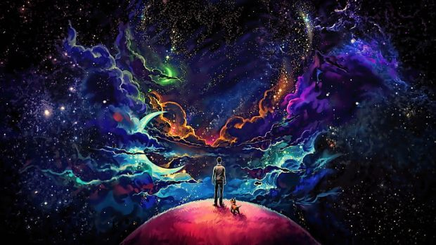 https://www.wallpaperflare.com/blue-and-purple-cosmic-star-wallpaper-man-and-dog-standing-on-top-of-planet-painting-wallpaper-hvw