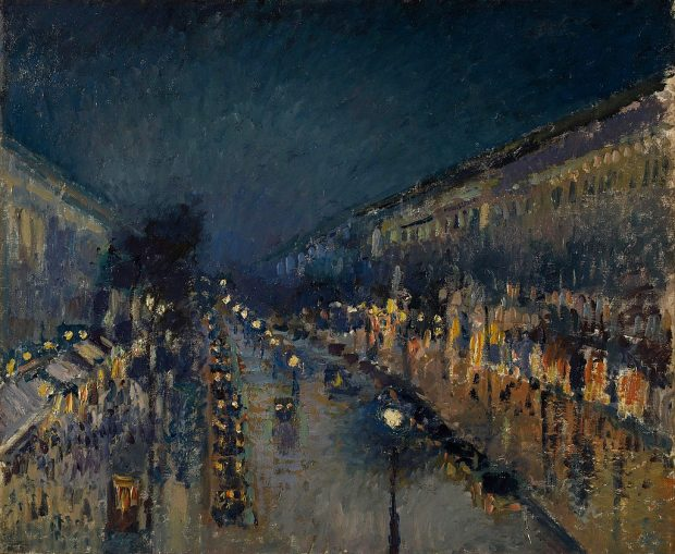 https://en.wikipedia.org/wiki/File:Camille_Pissarro,_The_Boulevard_Montmartre_at_Night,_1897.jpg